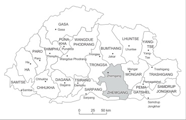 Bomena A Misunderstood Culture Contextualizing A Traditional - Map of bhutan with districts